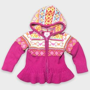Pink Pattern Knitted Zip Up Jacket